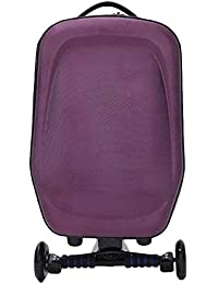 Purple: Hrph New 21Inch Hard-Shell Wheeled Wheels Scooter Luggage Suitcase With Skateboard For Travel Business