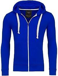 Young & Rich Hoodie Sweatjacke Herren Jacke Basic Sweater Sweatshirt Uni Hoody Kapuzenpullover Pullover mit Kapuze in der Farbe Blau M
