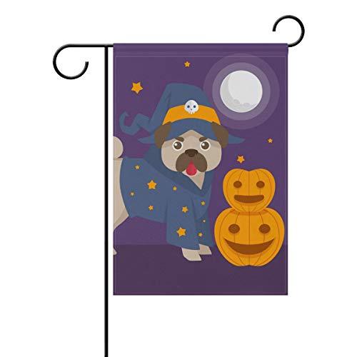 LINDATOP Lustige Mops mit Halloween-Kostüm, Gartenflagge, 30,5 x 45,7 cm, doppelseitig, Hof-Dekoration, Polyester Outddor Flagge, Home Party, Polyester, Multi, 12x18(in) (Lustig Uk Kostüme Hund)