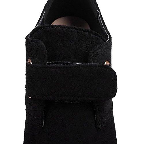 AllhqFashion Femme Couleur Unie Dépolissement à Talon Bas Pointu Chaussures Légeres Noir