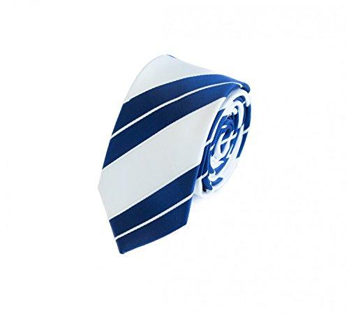 Fabio farini cravatta uomo 6 cm classica fatta a mano per il lavoro o occasioni speciali, bianco/blu scuro a righe