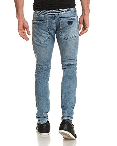 BLZ jeans - Jean bleu destroy biker slim Bleu