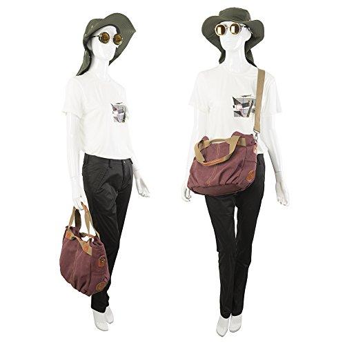 CloSoul Direct Damen Canvas Shopper Handtasche Umhängetasche Mit Reißverschluss khaki Violett