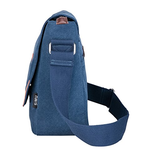 Super moderno da uomo, in tela, borsa a tracolla messenger bag laptop computer bag Satchel bag Bookbag School bag, borsa a tracolla, Uomo, Blue Large Blue Large