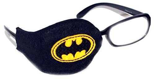 Orthopische Augenklappe für Kinder und Erwachsene bei der Therapie von Amblyopa, Sehschwächen, schwarz mit Batman-Symbol, Schwarz