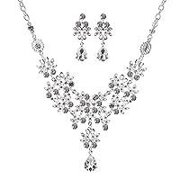 Imixlot Drop Shaped Crystal Pendant Necklace Earring Bridal Jewelry Sets