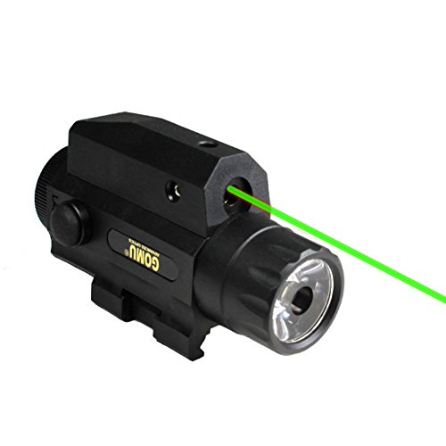 Etopfashion antorcha LED Linterna compacta Montaje en riel para Pistola Pistola Verde mira roja Airsoft Juguete Exterior para niños Adultos