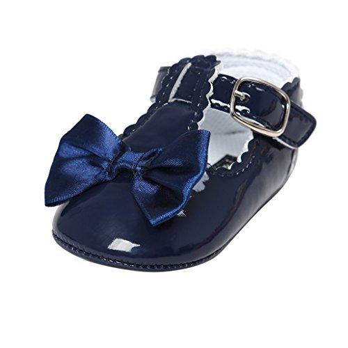 Baby-erste gehende Schuhe, Auxma Baby-Mädchen Bowknot-Dekoration Gleitschutzsohle Schuhe für 0-18 Monate (12cm(6-12M), Marine)