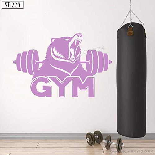 zhuziji Sticker Mural Moderne Fitness Barbell Bière Vinyle Stickers Muraux Creative Animal Gym Fenêtre Décor Sport Design Affiche De Violet 64x42cm