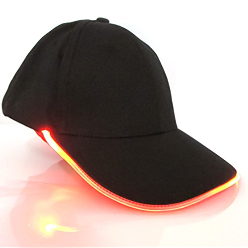 GEZICHTA cappello da baseball - illuminato a LED Golf hip-hop regolabile tessuto cappello Glow, adatto per feste, club, Sport, viaggi, bar, Stage performance, red