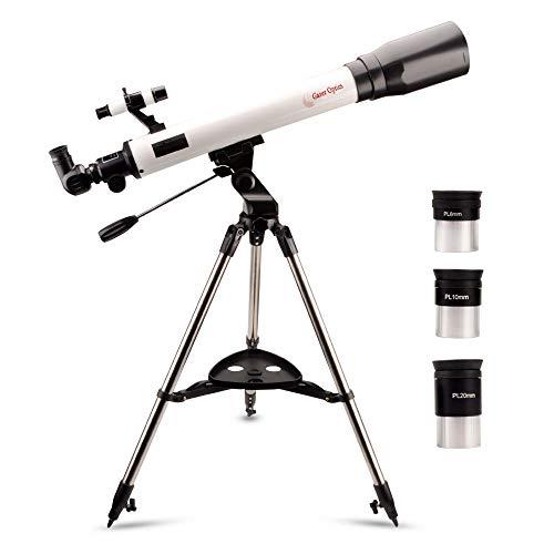 Moutec telescopio Refractor, Telescopio de 700/70 mm para Principiantes, telescopio astronomico con Adaptador para teléfono Inteligente y Tres Ocular, Lente Barlow 2X