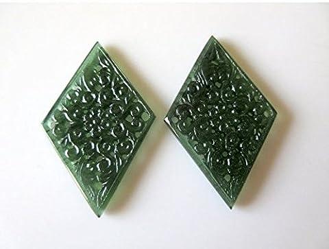 Magnifique sculpté à la main Vert Pierre précieuse de Serpentine à découper en filigrane, trouver, Naturel Serpentine Boucles d'oreilles 57x 36mm chaque,