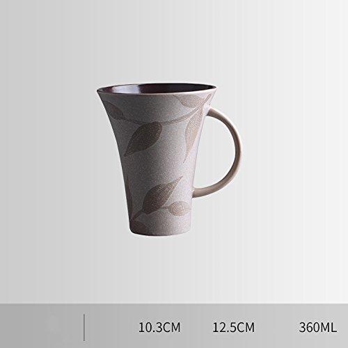 Keramik Tasse Große Kapazität Frühstück Milch Kaffeetasse Haushalt Tasse Kreative Persönlichkeit Trinken Tasse mit Löffel,E,360ml