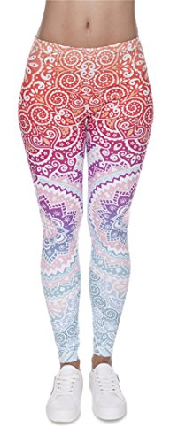 DD.UP Damen Strumpfhose Sport Print Yoga Leggings Workout Fitness Running Pants Mehrfarbig One Size