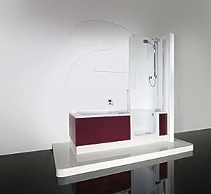 Artweger Twinline 2 Dusch Badewanne mit Einstieg 170 cm Duschabtrennung silber matt mit Schürze ARTWALL Schiefer