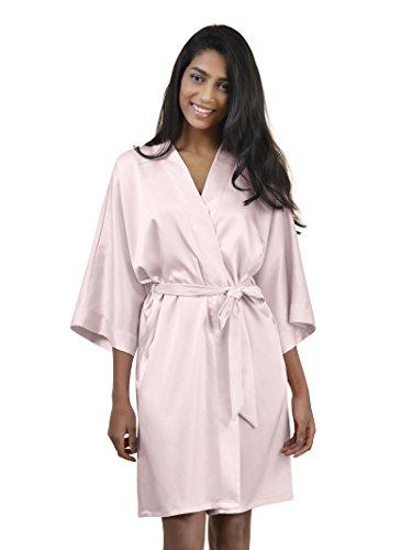 SIORO Womens Kimono Robe Bridesmaids Satin Robes Silk Lightweight Nightwear  V-neck Sexy Sleepwear Pajamas Short Bathrobe Loungewear Pure Color Shell  Pink M d8e41645b