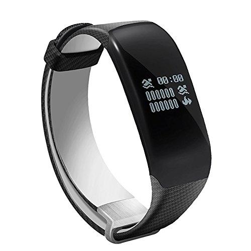 Lemumu Schwimmen Übung Hheart Herzfrequenz Messgerät Schritt wasserdicht Ring Camouflage Gurt intelligente Hand Ring Schickes Armband, Schwarz -