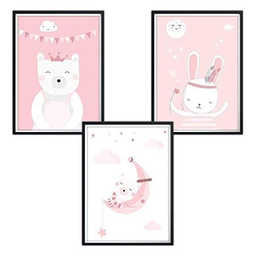 3er-Set DINA4 Poster fürs Kinderzimmer, Kinderposter, Babyzimmer Bilder, Mädchen Junge Deko, Dekoration Kinderzimmer