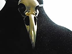 "Unique Enormous Brass Raven Skull Brass Necklace 3.25"" Length 81 Gram Biker Wicca, Made In Usa 10 Yr Guarantee"