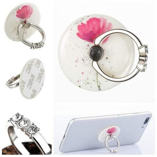RanDal Telefon-Fingerring-Halter-Schreibtisch-Tablet-Stand-360-Grad-Drehender Aufkleber Auf Geräten Rosa Blume