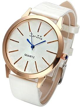 JSDDE Uhren,Elegant Frauen Armbanduhr Einfach Skala Damenuhr Echtleder Armband Rosegold Analog Qaurzuhr J626M,...