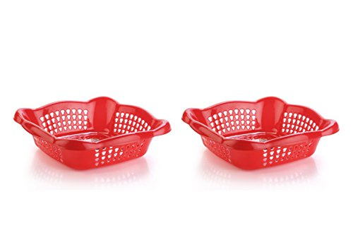 Nayasa Melow 2 Piece Plastic Fruit Basket Set, Large, Red