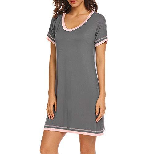 OLLOLCCY Damen Nachtwäsche Modal Nachthemd O-Ausschnitt Kurzarm Solid Color Kleid Nachthemd S-XXL,Gray,M -