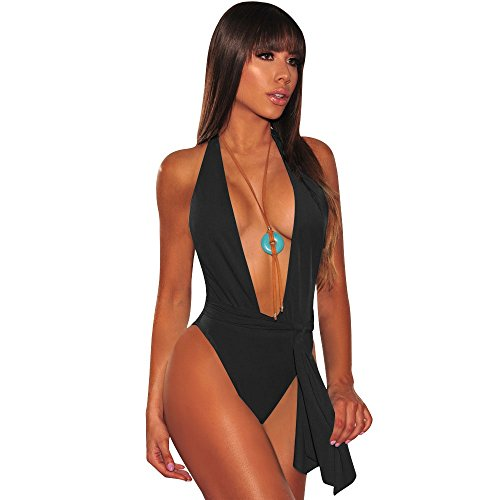 Frauen Sexy High Cut One Piece Verband Thong Tiefer Ausschnitt Badeanzug Tiefem V-Ausschnitt Monokini Backless Bademode mit Verstellbaren Trägern, Schwarz, S -