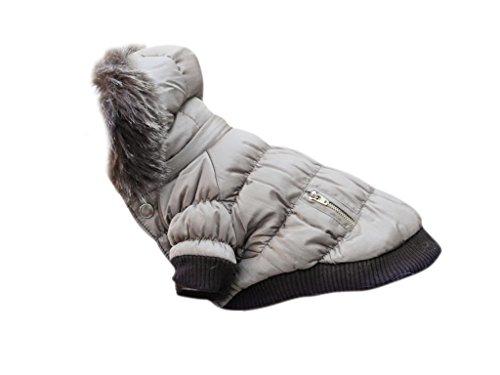 Ikumaal Dicker Steppmantel in grau mit Fell-Kaputze - Winterjacke Hund Bekleidung für Hunde Hundebekleidung und Hundemantel günstig M55 Gr. XS