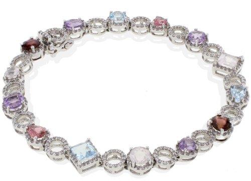 Naava Women's 18 ct White Gold Diamond & Multi Gemstone Bracelet