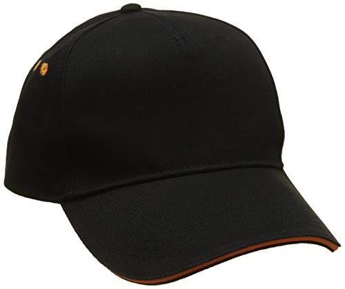 Beechfield B015CBLK-ORA Ultimate 5-Panel Sandwich Peak Mütze, schwarz, Einheitsgröße
