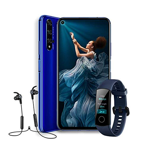 "HONOR 20  - Smartphone Android 9 (6,26"" FHD, 48MP + 16MP + 2MP + 2MP, frontal 32MP, 6 GB de RAM, 128 GB memoria, batería 3750 mAh), color Azul + Honor Band 4 + Honor Sport Bluetooth Earphones"