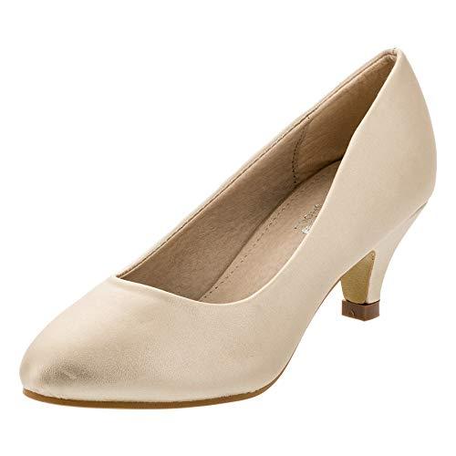 Festliche Mädchen Pumps Ballerina Schuhe Absatz Glitzer in vielen Farben M342go Gold 34