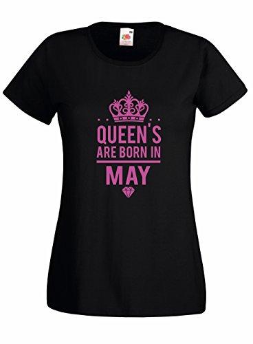 Settantallora T-Shirt Maglietta Donna J2476 Le Regine Sono Nate a Maggio Nero