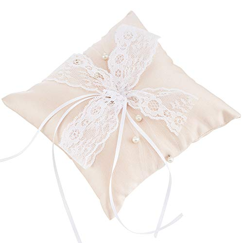 LONGBLE Hochzeit Zeremonie Ringe Kissen Ivory Ringkissen Vintage Satin Künstliche Perlen Dekoration mit Lace Schleife für Heiratsantrag Hochzeitsdekoration