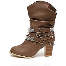 Botas Mujer Tacon Alto Cuero Botines Invierno Pelaje Tobillo Hebilla Zapatos de Trabajo Señoras Altos Talones