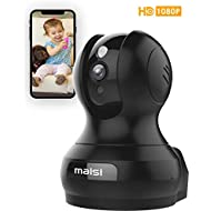 MAISI Upgraded True FHD 2MP IP Camera / Pet Monitor with Enhanced & Integrated Wi-Fi, Black 1 Pack