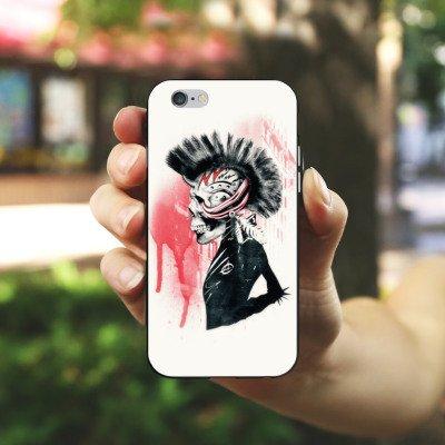 Apple iPhone 5 Housse étui coque protection Punk Tête de mort Crâne Housse en silicone noir / blanc