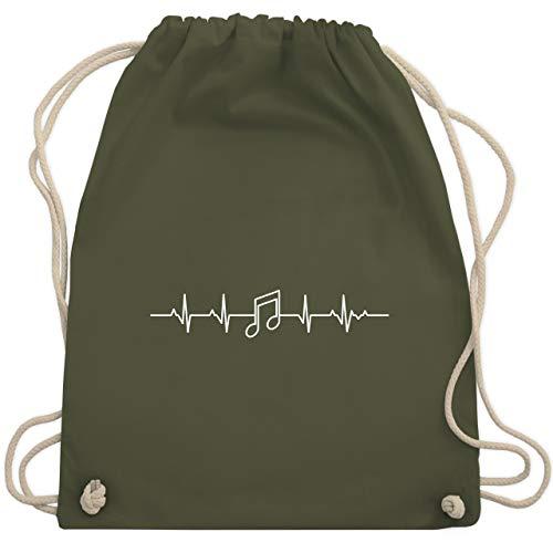 Symbole - Herzschlag Musik Note - Unisize - Olivgrün - WM110 - Turnbeutel & Gym Bag (Musiker Rucksack)