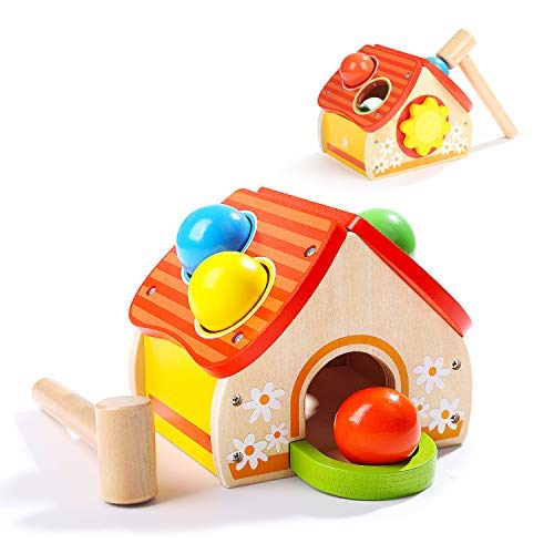 Top Bright Wooden Pounding Toy - One Year Old Ball and Hammer Toy Toddler Gifts for 1 Year Old Boys and Girls