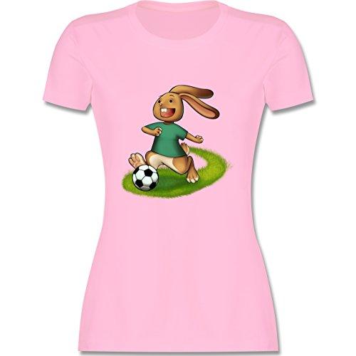 Fußball - Fußball Hase - tailliertes Premium T-Shirt mit Rundhalsausschnitt für Damen Rosa