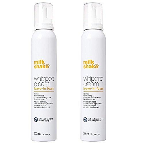 Milk Shake Whipped Cream Leave de espuma Duo Pack 2x 200ml Mousse cremosa condizionante y protectora para todos los tipos de cabello 400ml. Promoción envío gratuita