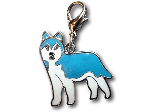 Émail chien Porte-clés avec porte-clés clip Charms par pashal Chiots Alaskan Malamute
