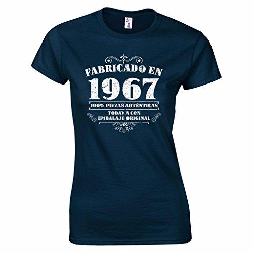 Camiseta de mujer para regalo de 50 cumpleaños Manufactured 1967 en azul marino talla XXL