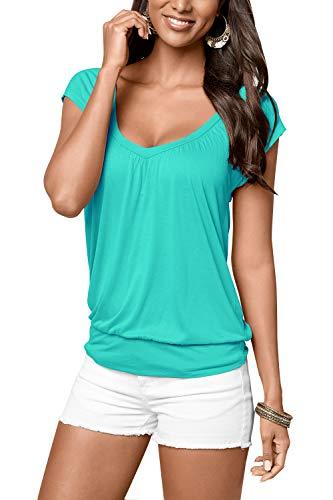 Party Bluse Set (Uniquestyle Damen Sommer T-Shirt Kurzarmshirt V-Ausschnitt Lässige Stretch Falten Bluse Tops Oberteil Baumwollshirt Blickdicht (L, Mint))