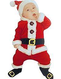 Bébé Santa Noël costume,Moonuy 4pcs Santa Noël coton Tops + pantalons + Hat + chaussettes Outfit ensemble costume de Noël