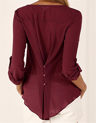 Femmes Occasionnels Menottees Manches Longues Bouton V Cou Pull Chemisiers Robe Chemise Tops Red Wine