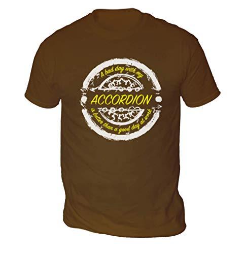 Bad Day mit Akkordeon Besser als Works Herren T-Shirt (Auswahl Farbe und Größe) - Schokolade, S