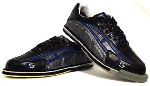3G Tour Ultra Echtleder Känguru-Leder Bowling-Schuhe, Damen und Herren Schuhe, Für Rechts- und Linkshänder geeignet, verschiedene Farben verfügbar, Profi Schuh, Wechsel-Sohle und Wechsel-Absatz, viel Zubehör, Blau-Schwarz-Silber