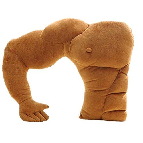 Vikenner Freund Halten Kissen Muscle Arm Unterstützung Kissen Weiche Mann Umarmung Körper Schlafkissen Warm Plüsch Spielzeug Für Auto Stuhl Sitzbett Sofa - Braun - 58 cm